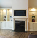 Interior painted wall, fireplace and wood floor