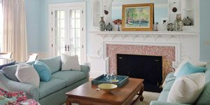 Living room with fireplace by Mad Hatter Painting