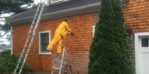 House siding being pressure washed by Mad Hatter